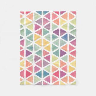 パステル調の水彩画の三角形 フリースブランケット