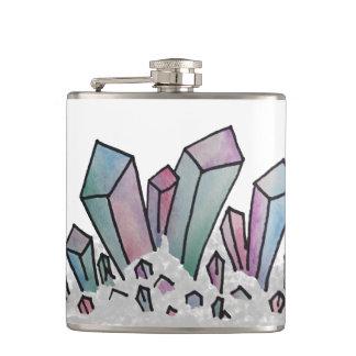 パステル調の水彩画の水晶集りのフラスコ フラスク