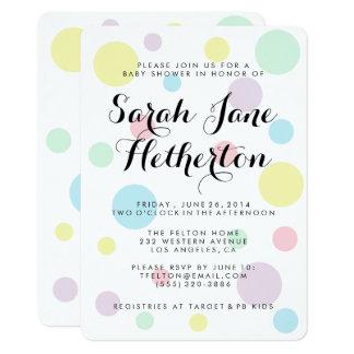 パステル調の水玉模様のベビーシャワー招待状 カード