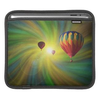パステル調の渦のiPadの袖の熱気球 iPadスリーブ