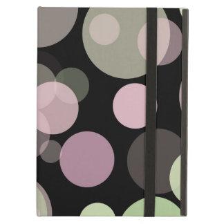パステル調の点の黒の背景のテンプレートのピンクの円 iPad AIRケース