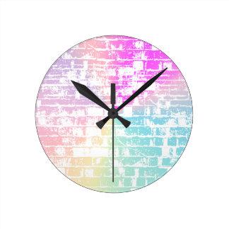 パステル調の煉瓦 ラウンド壁時計