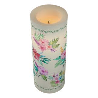 パステル調の熱帯花 の葉のボーダー花柄 LEDキャンドル