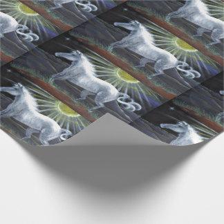 パステル調の白馬のギフト用包装紙 ラッピングペーパー