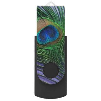 パステル調の紫色の孔雀の羽 USBフラッシュドライブ