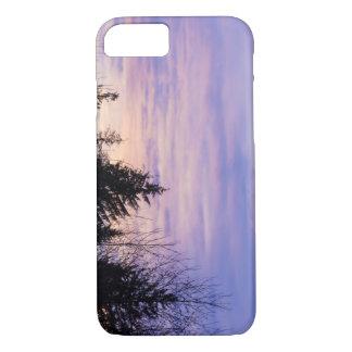 パステル調の紫色の日没の木のシルエットPhonecase iPhone 8/7ケース
