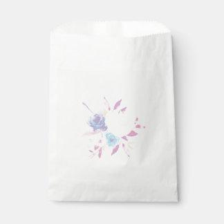 パステル調の紫色の花の水彩画の好意のバッグ フェイバーバッグ