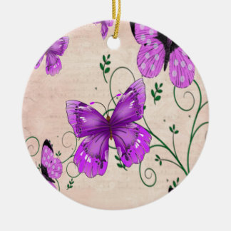 パステル調の紫色の蝶 セラミックオーナメント