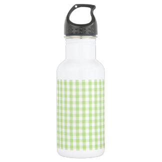 パステル調の緑のギンガムパターン ウォーターボトル
