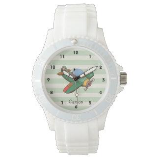 パステル調の緑のストライプのヴィンテージの飛行機 腕時計