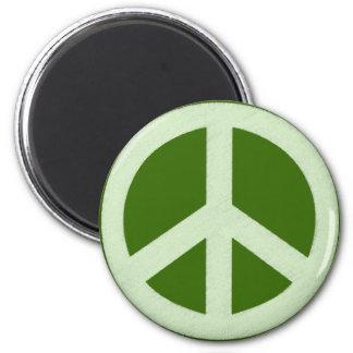 パステル調の緑のピースサイン マグネット
