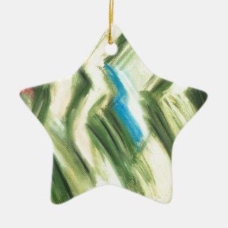 パステル調の緑の低木および薮(抽象的な立体派) セラミックオーナメント