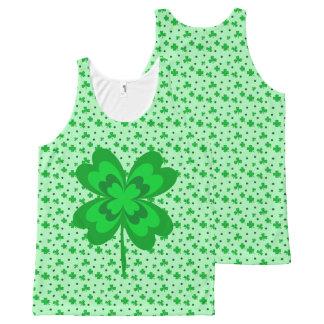 パステル調の緑の幸運なアイルランドのシャムロックパターン オールオーバープリントタンクトップ
