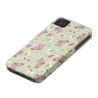 パステル調の緑の花のピンクのバラ Case-Mate iPhone 4 ケース