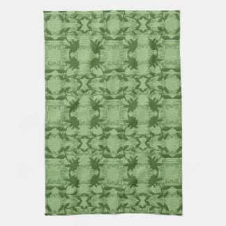 パステル調の緑の花のレースパターン皿タオル キッチンタオル