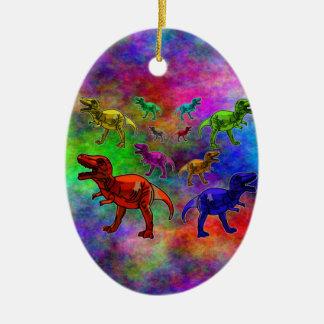 パステル調の背景の着色された恐竜 セラミックオーナメント