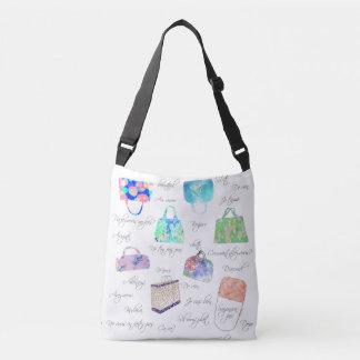パステル調の花の水彩画の絵のタイポグラフィ クロスボディバッグ