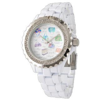 パステル調の花の水彩画の絵のタイポグラフィ 腕時計