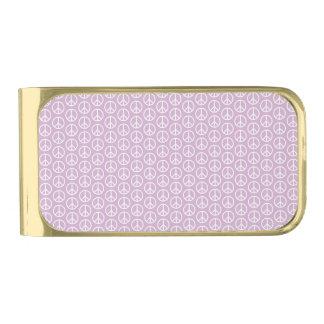 パステル調の薄紫の白いピースサイン 金色 マネークリップ