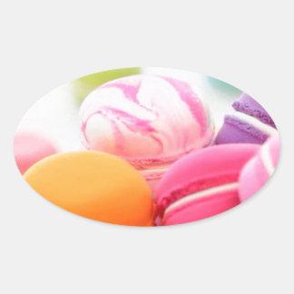 パステル調の虹によってフランス人のMacaronの分散させるクッキー 楕円形シール