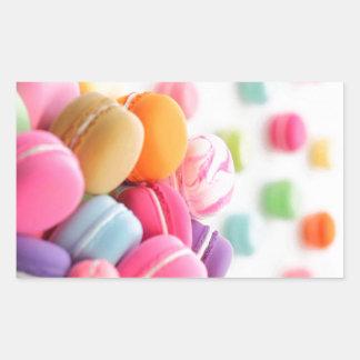 パステル調の虹によってフランス人のMacaronの分散させるクッキー 長方形シール