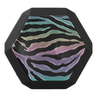 パステル調の虹のシマウマのアニマルプリントのスピーカー ブラックBluetoothスピーカー