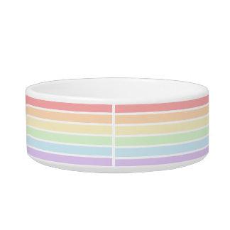 パステル調の虹のストライプのな中型のペットボウル ボウル