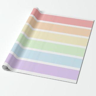 パステル調の虹のストライプのな包装紙 ラッピングペーパー