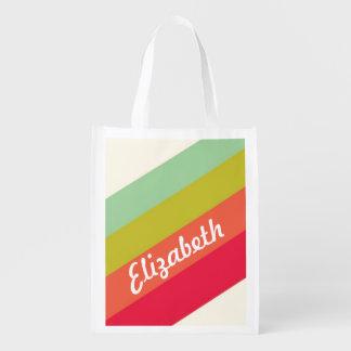パステル調の虹の名前入りな名前 買い物袋