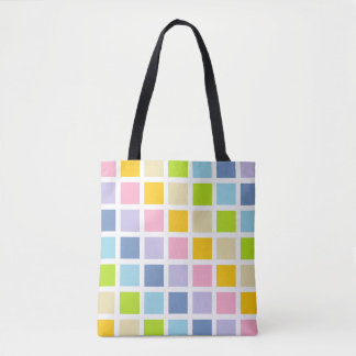パステル調の虹の正方形 トートバッグ