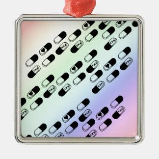パステル調の虹の背景の丸薬 メタルオーナメント