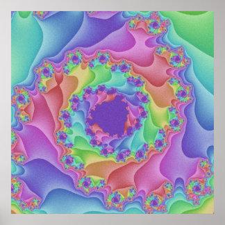 パステル調の虹の螺線形ポスター ポスター