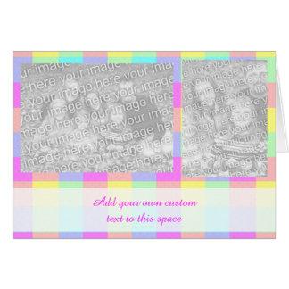 パステル調の虹は2写真を市松模様にしました カード