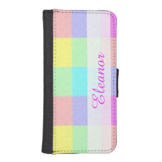 パステル調の虹は|の名前入りな名前を市松模様にしました iPhoneSE/5/5sウォレットケース
