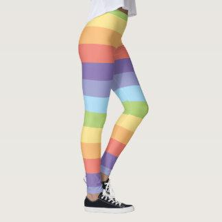 パステル調の虹ストライプなゲイプライド レギンス