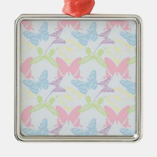 パステル調の蝶パターン シルバーカラー正方形オーナメント