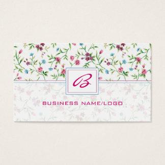 パステル調の調子の花のMonogramedの名刺 名刺