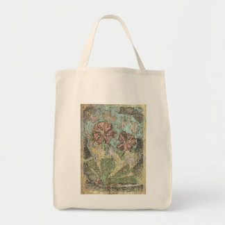 パステル調の野生の花の買い物袋 トートバッグ