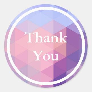 パステル調の青い紫色の幾何学的なパターンは感謝していしています ラウンドシール