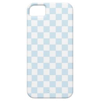 パステル調の青および白いチェッカーボード iPhone SE/5/5s ケース