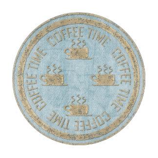 パステル調の青のコーヒー時間金ゴールド カッティングボード