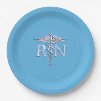 パステル調の青の公認看護師RNのケリュケイオン ペーパープレート