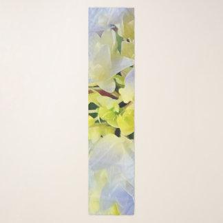 パステル調の青の水彩画のアジサイおよび緑 スカーフ