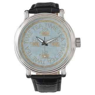 パステル調の青の茶時間金ゴールド 腕時計