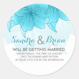 パステル調の青及び白い花の結婚式のデザイン ラウンドシール
