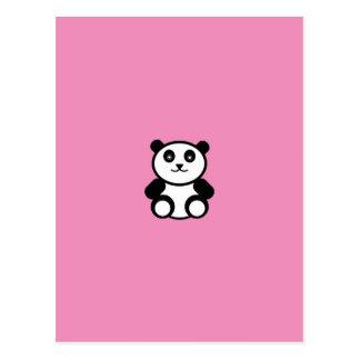パステル調ピンクのかわいいパンダ ポストカード