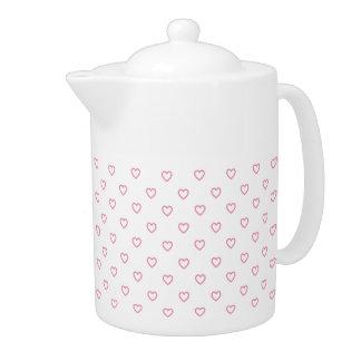 パステル調ピンクのハートの水玉模様パターンティーポット