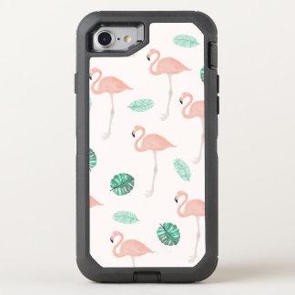 パステル調ピンクのフラミンゴの熱帯葉の水彩画 オッターボックスディフェンダーiPhone 8/7 ケース