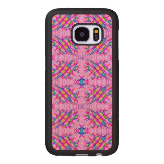 パステル調ピンクの万華鏡のように千変万化するパターンパターン抽象芸術 ウッドSamsung GALAXY S7 ケース