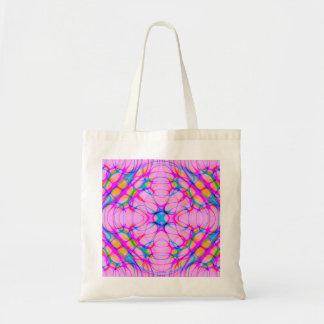パステル調ピンクの万華鏡のように千変万化するパターンパターン抽象芸術 トートバッグ